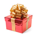 Red gift box. Isolated. Red gift box with golden ribbon Stock Photos