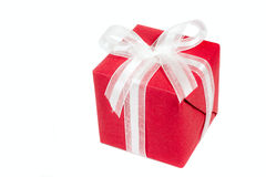 Red gift box isolated over white Stock Images