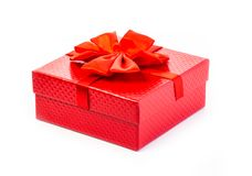 Red gift box isolated royalty free stock photo