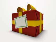 Red gift box isolated on white background. 3D royalty free stock photo