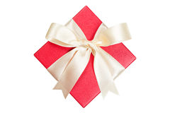 Red gift box isolated on white. Clipping path Stock Photos