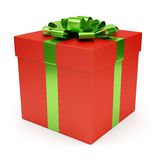 Red gift box isolated on white Royalty Free Stock Photo
