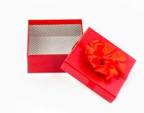 Red gift box isolated on white royalty free stock photos