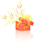 Red Gift Box with Lettering Stock Image