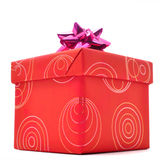 Red gift box with lid on white background Stock Photos