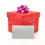 Red gift box with lid on white background Stock Image