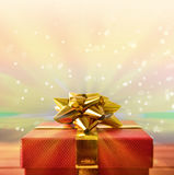 Red gift box macro with glitter and colorful front view Royalty Free Stock Photos