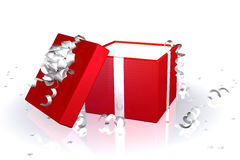 Red gift box open Royalty Free Stock Images