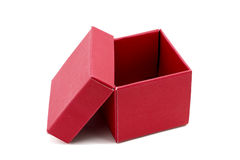 Red Gift Box with open cap Stock Photos
