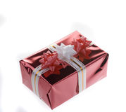 Red gift box over white. Royalty Free Stock Photo