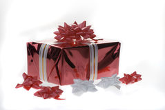 Red gift box over white. Royalty Free Stock Image