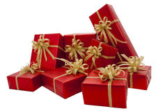 Red gift box over the white background. Red gift box over white background Stock Photos