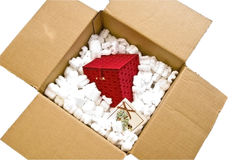 Red Gift Box/ Packing Material Stock Photos