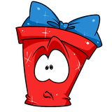 Red gift box perplexing cartoon Royalty Free Stock Photos