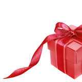 Red gift box with Pink ribbon on white Stock Image