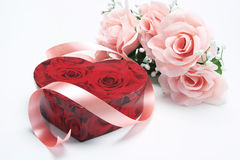 Red Gift Box with Pink Roses Stock Photos