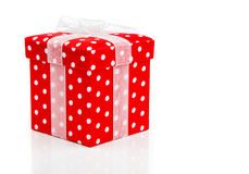 Red gift box, polka dots Royalty Free Stock Photos