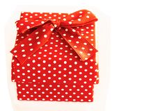 Red gift box prepared for valentine`s day stock image