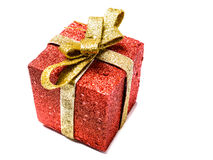 Red gift box present golden ribbon isolated Royalty Free Stock Image