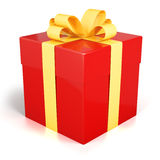 Red gift box present with golden ribbon isolated Royalty Free Stock Image
