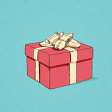 Red Gift Box Present Sketch Retro Vector Stock Photography