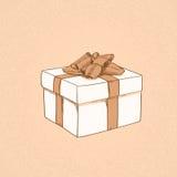 Red Gift Box Present Sketch Retro Vector Royalty Free Stock Photos
