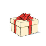 Red Gift Box Present Sketch Retro Vector Royalty Free Stock Photo