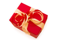 Red Gift Box with Red  and gold Satin Ribbon bow Royalty Free Stock Image