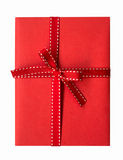 Red gift box with red ribbon isolate Royalty Free Stock Photography