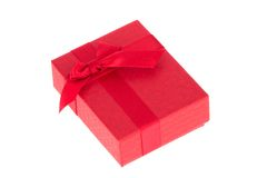 Red gift box with red ribbon Stock Photo