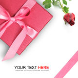 Red gift box with red rose Stock Photos