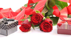 Red gift box and red roses II Royalty Free Stock Images