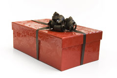 Red gift box with ribbon Stock Photos
