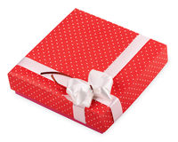 Red gift box with ribbon Royalty Free Stock Images
