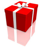 Red gift box with ribbon. 3d illustration of red gift box tied with ribbon reflecting on white background Stock Image