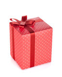 Red gift box with ribbon and bow Royalty Free Stock Photo