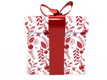 Red Gift box with ribbon bow 3d illustration rendering Stock Photos