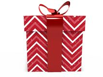 Red Gift box with ribbon bow 3d illustration rendering Royalty Free Stock Photos