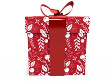 Red Gift box with ribbon bow 3d illustration rendering Stock Photography