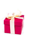 Red gift box with ribbon bow Stock Images
