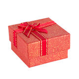 Red gift box with ribbon bow Royalty Free Stock Photos