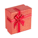 Red gift box with ribbon bow Stock Photo