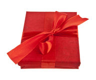 Red gift box with ribbon bow Royalty Free Stock Photo