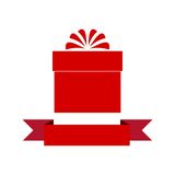 Red Gift box with ribbon icon Royalty Free Stock Photos
