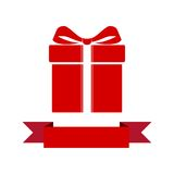 Red Gift box with ribbon icon Stock Photos