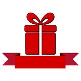 Red Gift box with ribbon icon Royalty Free Stock Images