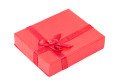 Red gift box with ribbon isolated Stock Photos