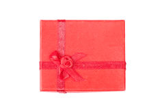 Red gift box with ribbon isolated Royalty Free Stock Image