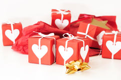 Red gift box with ribbons Stock Image