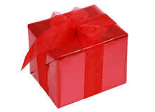 Red gift box with ribbons Stock Photo